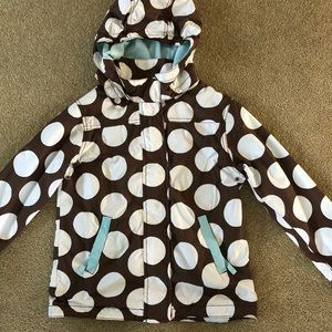 Mini Boden Brown Polka Dot Jacket Raincoat 9 10